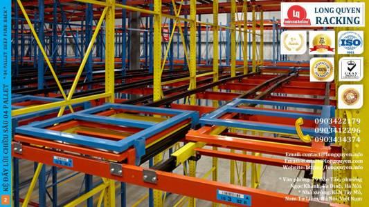 Kệ Đẩy Lùi 04 Pallet Deep Push-Back Rack Trong Kho Hàng Mật Độ Cao (2)