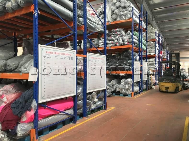 Kệ sắt kệ pallet kho hàng nguyên liệu may mặc vải cuộn công ty May Hà Bắc (7)