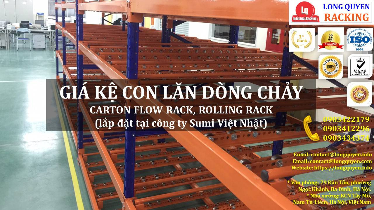 Giá kệ con lăn dòng chảy giá kệ trôi lắp đặt tại công ty Sumi Việt Nhật (2)
